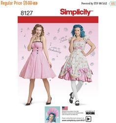 8127, Simplicity, 1950's Dress, Rockabilly, Lolita Bonnet 50's Cocktail Dress, Summer Dress, Retro 50's, 1950's fashion, Retro party fashion