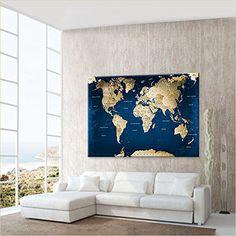 """LanaKK - Weltkarte Leinwandbild mit Korkrückwand zum pinnen der Reiseziele – """"Weltkarte Ocean"""" - deutsch - Kunstdruck-Pinnwand Globus in blau, einteilig & fertig gerahmt in 150x100cm: Amazon.de: Küche & Haushalt"""