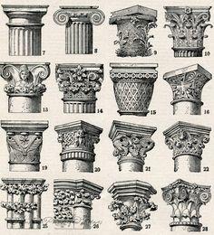 Architectural Columns Antique 18981904 by AntiquePrintsAndMaps