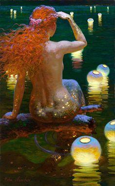 """""""On the Horizon"""" by Victor Nizovtsev 1965 fantasy mermaid painting Victor Nizovtsev, Mermaids And Mermen, Fantasy Mermaids, Merfolk, Mythical Creatures, Sea Creatures, Faeries, The Little Mermaid, Fantasy Art"""