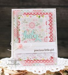 Card by Laurie Schmidlin. Reverse Confetti stamp set: Fancy Word Coordinates. Confetti Cuts: Fancy Words. Baby card.
