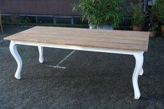 Esstisch Teak shabby chic weiß 200 cm Teakholz Tisch Massivholz Möbel Teakmöbel