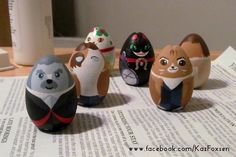 Doctor Woof and Mew #ornaments in progress, plus misfortune cat next to maneki neko buddy. #Twelfthdoctor is nearly done. I call him Poodle Capuppy. :3