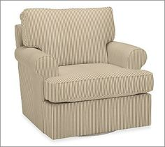 Swivel chairs covered in brown ticking stripe fabric. You will be able to face the fireplace or the TV.