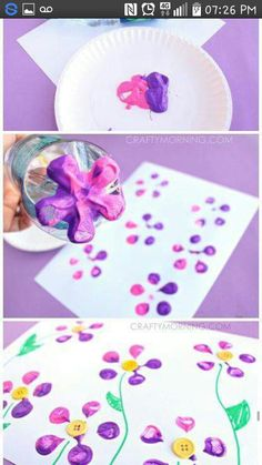 Make Bottle Print Button Flowers! Fun kids craft idea for Spring or Summer! What a gorgeous and quick flower craft! Daycare Crafts, Fun Crafts For Kids, Crafts To Do, Projects For Kids, Art For Kids, Arts And Crafts, Kid Art, Craft Projects, Kids Fun