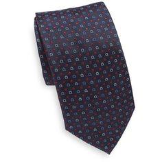 Salvatore Ferragamo Gancini Dots Silk Tie (3,435 MXN) ❤ liked on Polyvore featuring men's fashion, men's accessories, men's neckwear and ties