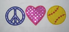 Peace Love Softball  Embroidery Design Applique by theappliquediva, $2.99