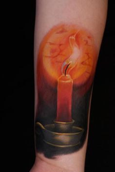brass candle holder fire light tattoo