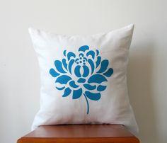 Blue Dahlia Pillow Cover: Hand Printed Decorative Pillow Cover 16x16 Natural White Linen with Blue Hand Printed Dahlia Design
