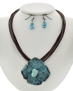 Patina Metal / Brown Cord & Turquoise Stone / Lead&nickel Compliant / Fish Hook (earrings) / Multi Strand / Flower Pendant / Necklace & Earring Set