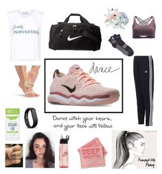 """Modern dance workshop💪🏻"" by heyimlula ❤ liked on Polyvore featuring adidas, Onzie, Wildfox, NIKE, Fitbit, Schmidt's, Plum & Punch and modern"