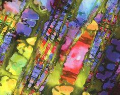 Viskose-Jersey mit Digitaldruck GALERIA, Diagonal-Farbkleckse, olive-gelb-lila