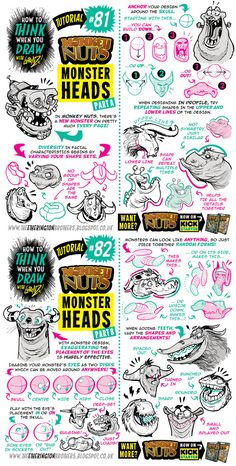 How to draw MONSTER HEADS and FACES tutorial by STUDIOBLINKTWICE.deviantart.com on @DeviantArt