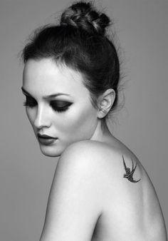 Black and grey swallow tattoo, beautiful woman!