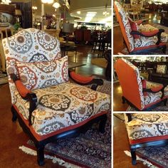 Accent Chair - Orange/Taupe Floral Oversize Accent Chair - $308.95