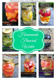 LOVE these healthy homemade all natural flavored waters! Of course I HAVE to drink them out of a Mason Jar +++ Visit our website and get your free recipes now!
