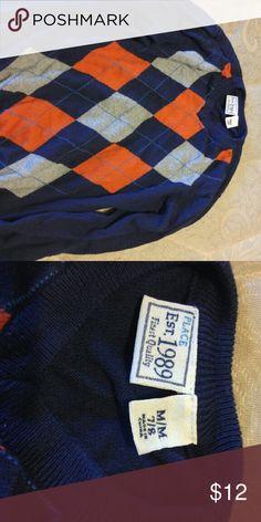 Children's place long sleeve sweater Blue, orange and Gray sweater worn once. Children's place Sweaters V-Necks