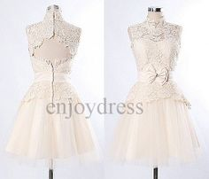 Custom Champagne Lace Tulle Short Wedding Dress Formal Bridal Gowns Evening Gowns Party Dress Prom Dresses Open Back Bridesmaid Dresses 2014