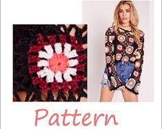 Granny square crochet sweater top by EasyNadiaPatterns