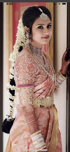 Beautiful South Indian Wedding Wear Idea :- AwesomeLifestyleFashion Different Culture have their own look and style and Kanjivaram and. Bridal Sarees South Indian, Bridal Silk Saree, Bridal Lehenga, Saree Wedding, South Indian Weddings, Punjabi Wedding, Pink Saree Silk, South Indian Bride Jewellery, Telugu Wedding