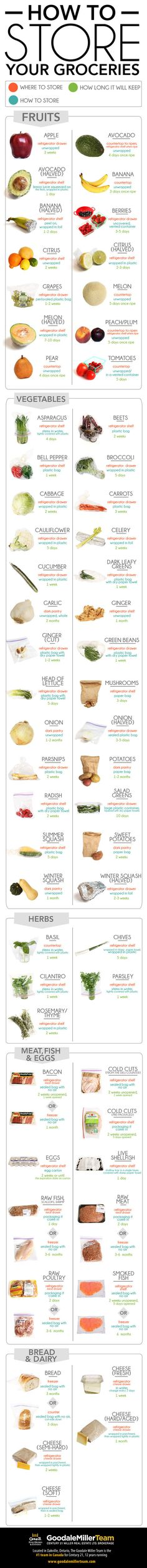 Have you ever wondered whether you should keep tomatoes in the fridge or how long that package of opened cold cuts will last? Well look no further! Our latest infographic is a comprehensive list of how to store your groceries properly. We hope you enjoy! #infographic