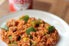 A new twist on a classic! Tender, crisp green peppers highlight the comforting flavors of ground beef, rice and tomatoes … a quick dinner for busy nights! Beef Recipes, Cooking Recipes, Cheap Recipes, Burger Recipes, Quick Recipes, Diabetic Recipes, Quick Meals, Recipies, Healthy Recipes