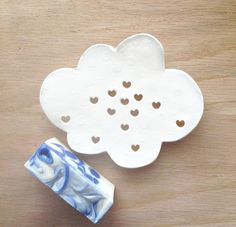 Cloud Ceramic Soap Dish  White Soap Dish for by TheBabyHandprintCo
