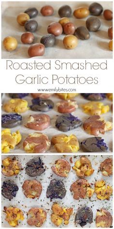These rustic Roasted Smashed Garlic Potatoes are a perfect side dish: full of flavor, crispy on the edges and just 120 calories or 3 Weight Watchers points! www.emilybites.com