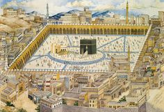 A View of The Ka'aba and Surrounding Buildings in Makkah, 1893 (Mekke, 1893) #OttomanEmpire