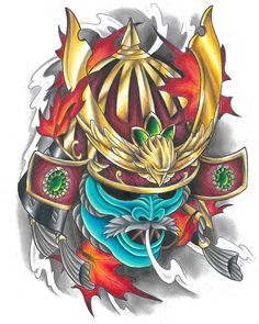 Samurai Warrior Tattoo Sleeve, Samurai Mask Tattoo, Samurai Helmet, Sleeve Tattoos, Japanese Mask Tattoo, Japanese Tattoo Designs, Full Leg Tattoos, Weird Tattoos, Owl Tattoo Wrist