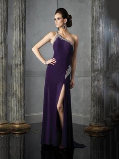 ebcbdd49e1 Sheath Column One Shoulder Satin Floor-length Sleeveless Crystal Detailing  Evening Dresses at dressestylish