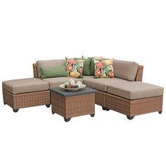 homeroots outdoor laguna 6 piece outdoor wicker patio furniture set 06f laguna 04c terracotta, Beige
