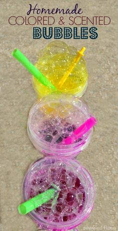 Easy Homemade Colored & Scented Bubbles- these bubbles are great for traditional bubble blowing, for using as a paint, & for making bubble prints!