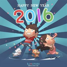 HJ Story new year 2016 Happy New Year 2016, New Years 2016, Happy New Year Everyone, Hj Story, Cute Love Stories, Love Story, Love Is Sweet, Love Is All, Cute Cartoon Characters