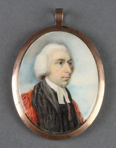 "Lot 438, 18th Century watercolour, double sided miniature of a young gentleman in a blue frock coat and an older gentleman in a starched colour 2 1/2"" x 2"" £80-120"