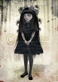 Gothic Art Print  Goth Girl And  Spiders  by HarrietsImaginations, $17.00