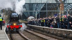 Crowds gathered to watch the Flying Scotsman set off from Kings Cross