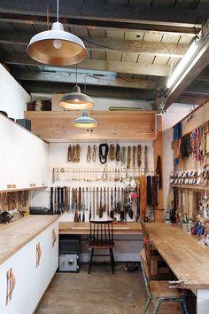 Marisa Mason's darling jewelry work studio - Work Place - Garage Atelier, Workshop Studio, Workshop Design, Garage Workshop, Dream Studio, Studio Studio, Small Studio, Studio Ideas, Garage Studio