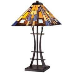 Jewel Tone Art Glass with Iron Base Table Lamp