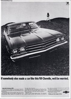 """The very popular Camrao A favorite for car collectors. The Muscle Car History Back in the and the American car manufacturers diversified their automobile lines with high performance vehicles which came to be known as """"Muscle Cars. 1969 Chevy Chevelle, Detroit Cars, Car Brochure, Chevy Muscle Cars, Super Sport Cars, Car Advertising, Mustang Cars, American Muscle Cars, Swagg"""