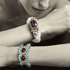 Bracelet set with amethysts, turquoise and brilliant-cut diamonds PERSIAN DREAM