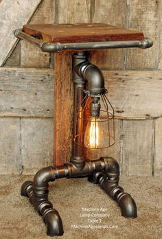 Steampunk Barn Wood Industrial Table Stand Floor 1