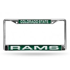 Colorado State CSU Ramsate CSU Rams Green Laser-Etched Chrome License Plate Frame