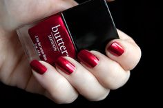 Butter London Knees Up - a smashing metallic red for getting smashed in. Inspiration: Brit slang for a drunken party.