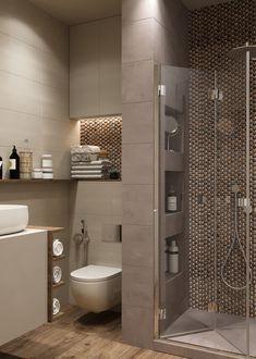 Дизайн ванной | Современный дизайн интерьера ванной | Душевая кабина в ванной | Напольная плитка с имитацией дерева в ванной | Серый цвет в интерьере | Светлая ванная