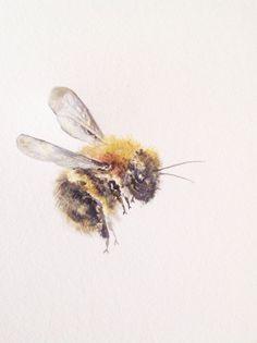 "watercolorsforlandlubbers:Watercolor Painting, Bumble Bee, Original Fine Art, 9""x12"""