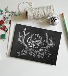 Limited Edition Antlers Holiday Chalkboard Cards