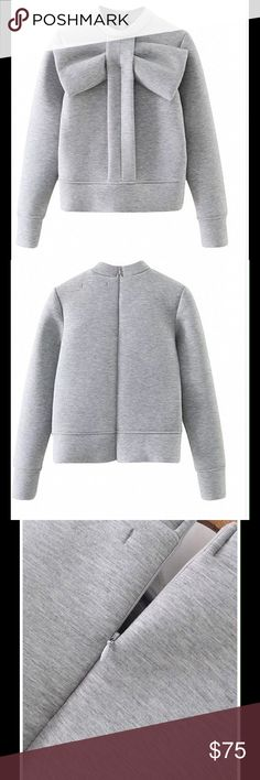 ‼️Adorable‼️Gray Bow-Tie Front Sweatshirt ❤️ Gray Bow-Tie Front Sweatshirt. Available for pre-order. This item is on back order. Zipper in the back, Fits true to size. S M L, comes in black or gray  Tops Sweatshirts & Hoodies