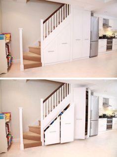 Under stair storage idea