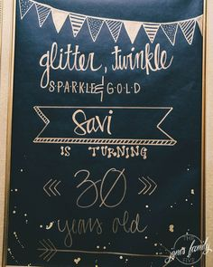 Glitter, Twinkle, Sparkle & Gold | The Jones Family Five Black & Gold 30th Birthday Party Decor Ideas #GlitterBirthday